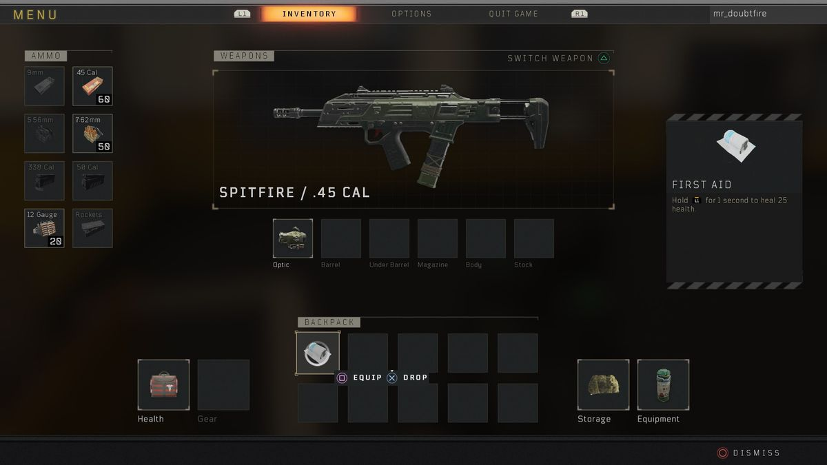 Call of Duty: Black Ops 4 Blackout spitfire
