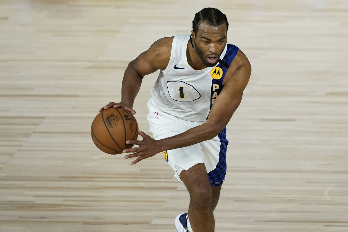 T.J. Warren of the Indiana Pacers drives up the court against the Miami Heat during the second half of a first round playoff game at The Field House at ESPN Wide World Of Sports Complex on August 24, 2020 in Lake Buena Vista, Florida.