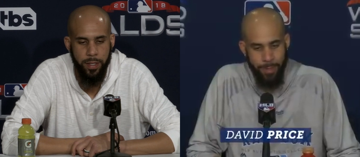 Side-by-side photos of David Price talking to the press after World Series Game 5 and ALDS Game 2