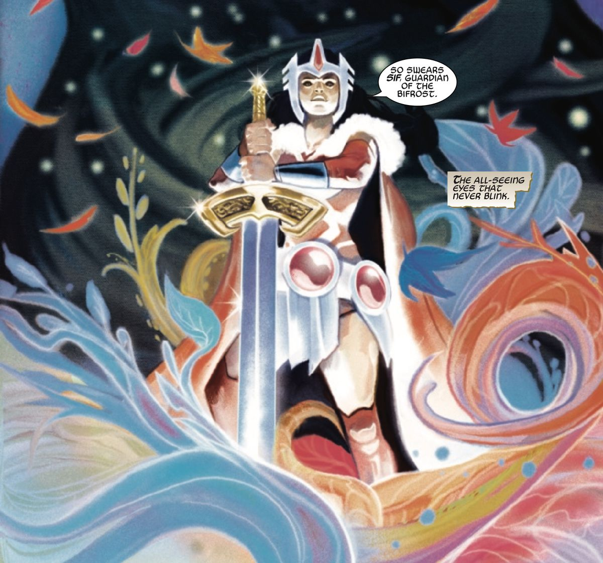 Lady Sif stands on the bifrost with the sword of Heimdall, in King Thor #4, Marvel Comics (2019).