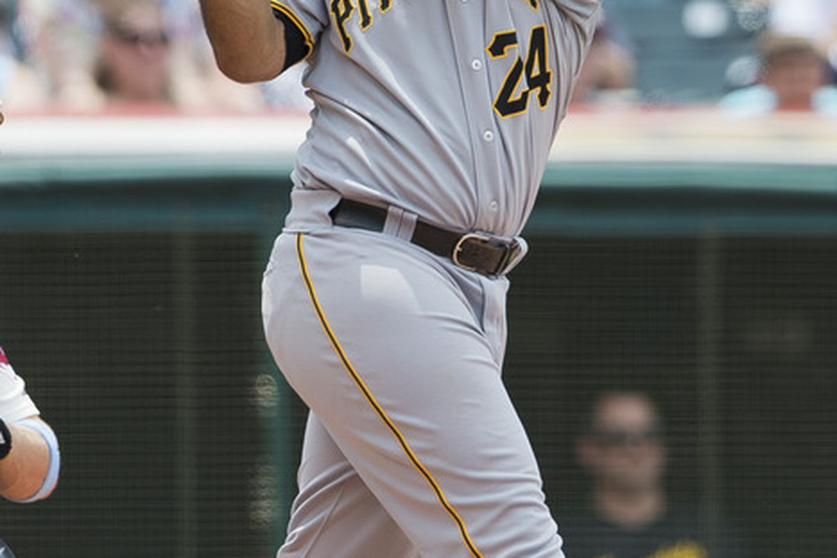 CLEVELAND, OH - JUNE 17: Pedro Alvarez #24 of the Pittsburgh Pirates hits a three run home run during the third inning against the Cleveland Indians at Progressive Field on June 17, 2012 in Cleveland, Ohio. (Photo by Jason Miller/Getty Images)