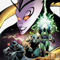 The main cover of DC's The Year of the Villain, featuring Perpetua (top) and (left to right) The Batman Who Laughs, Bane, Lex Luthor and Cheetah.
