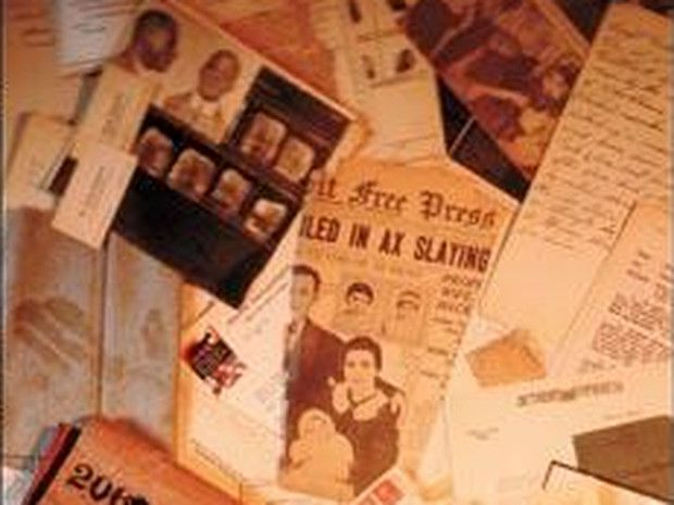 A pile of old newspaper clippings all about the Saint Aubin massacre in Detroit.