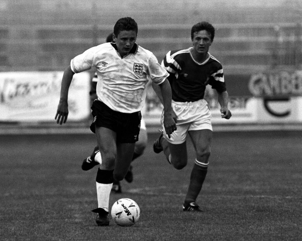 03/06/91 TOULON TOURNAMENT.FRANCE U21 v ENGLAND U21 (0-1).STADE MAYOL - FRANCE.Brian Atkinson in action for England. (Photo by SNS Group via Getty Images)