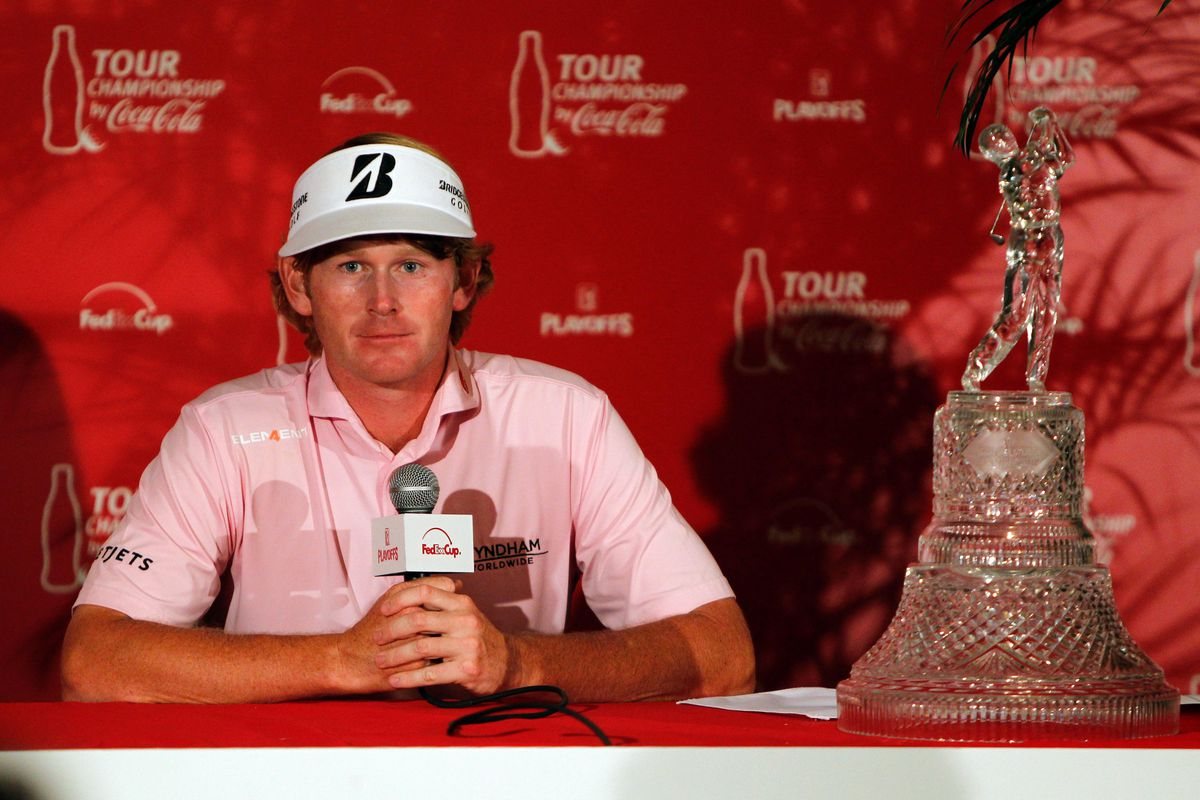 Sept. 23, 2012; Atlanta, GA, USA; Brandt Snedeker gives an interview after winning both the TOUR Championship and the FedEx Cup at East Lake Golf Club. Mandatory Credit: Debby Wong-US PRESSWIRE