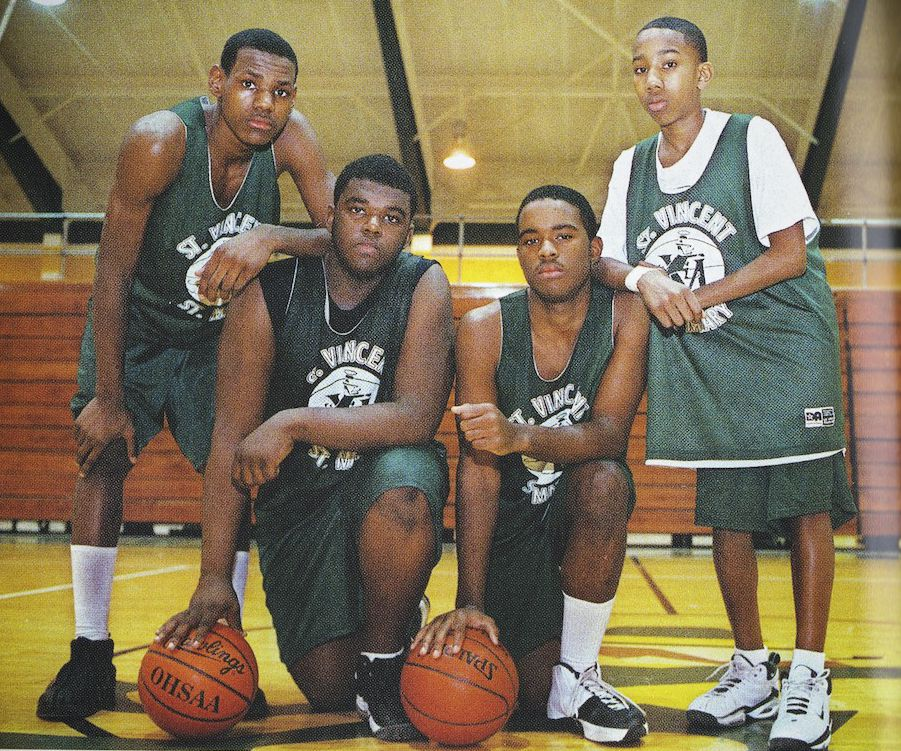 f213ea24fd5 The original Fab Four during freshman season at St. Vincent-St. Mary in  1999-2000. From left  LeBron James