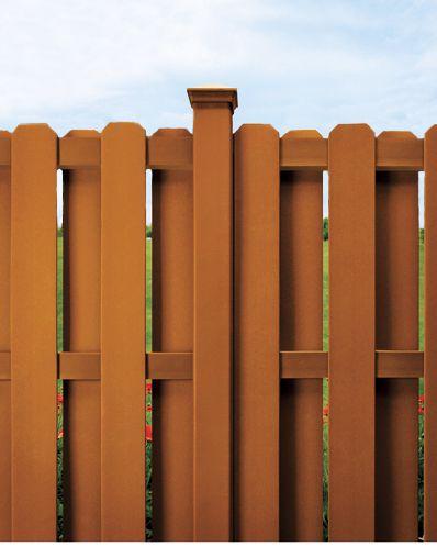 Closeup of composite wood fence.