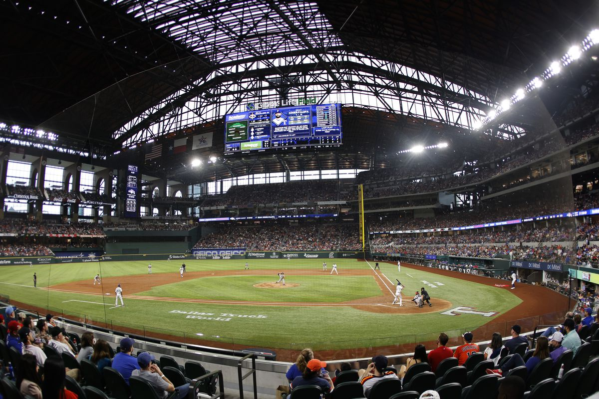 A general view inside Globe Life Field during the game between the Houston Astros and the Texas Rangers on May 22, 2021 in Arlington, Texas.