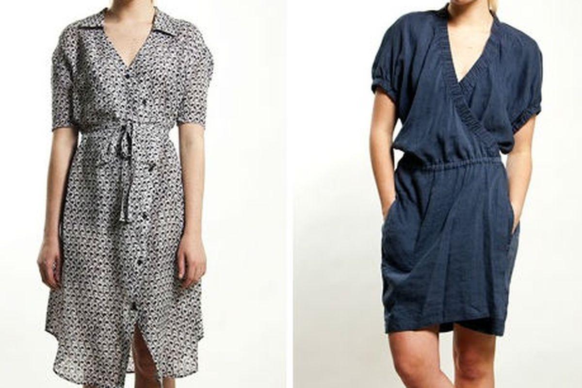 """<a href=""""http://www.stuartandwright.com/Rachel_Comey_Silk_Linen_Wrap_Dress_4355.html"""">Rachel Comey silk/linen wrap dress</a>, $398 (was $568), <a href=""""http://www.stuartandwright.com/Isabel_Marant_Iga_Dress_3927.html"""">Isabel Marant Iga Dress</a>, $3"""