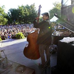 Bassist Roland Guerin performs at a sunrise concert marking International Jazz Day in New Orleans, Monday, April 30, 2012. The performance, at Congo Square near the French Quarter, is one of two in the United States that day; the other is in the evening in New York. Thousands of people across the globe are expected to participate in International Jazz Day, including events in Belgium, France, Brazil, Algeria and Russia.
