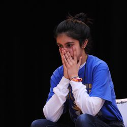 Maya Joshi from the Young Magnet High School reacts as she misspelled the word during one of the final rounds of the annual Citywide Spelling Bee Championship at the Lindblom Math and Science Academy on March 14, 2019. | Victor Hilitski/For the Sun-Times