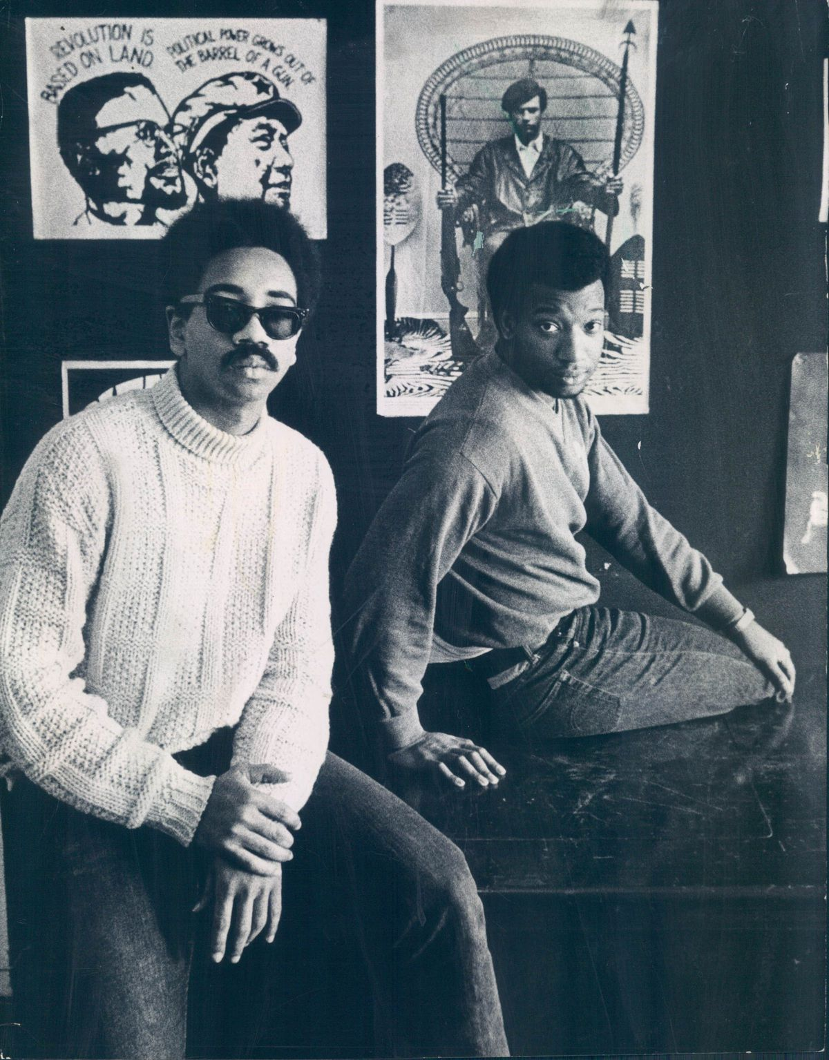 Bobby Rush (left) and Fred Hampton at the Illinois Black Panther Party headquarters at 2350 W. Madison St.