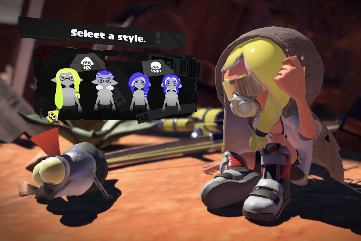 A character creation screen from Splatoon 3