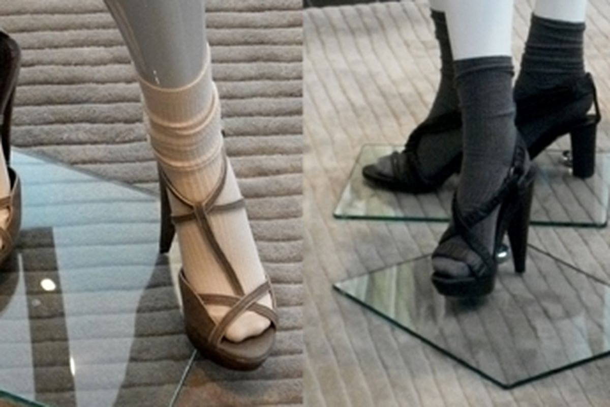 An ugly, horrible, hideous, monstrous thing that we hope isn't a real trend: socks with aggressive heels, as seen on the mannequins at Burberry in Beverly Hills.