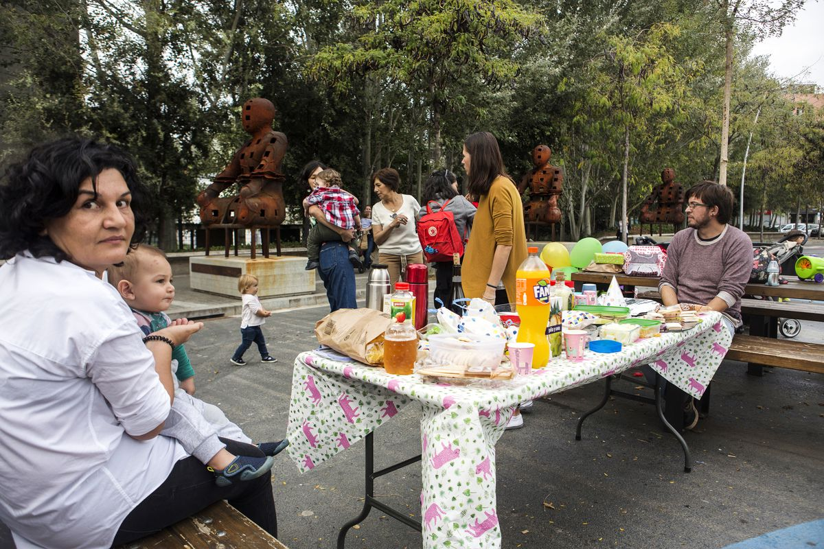 Neighbors in the Poblenou superblock celebrate a birthday party on October 14th, 2018.