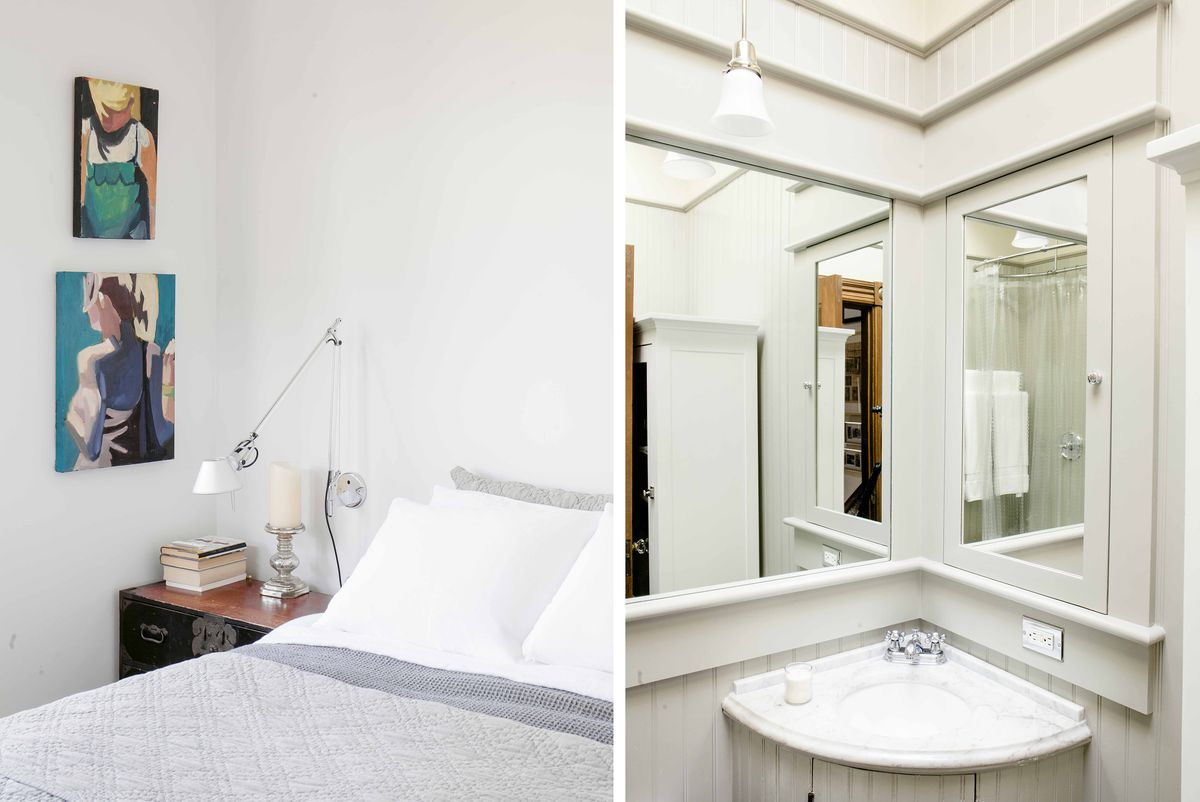 Left: A modern bedroom. Right: A bathroom keeps its vintage style.