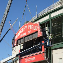 1:32 p.m. The upper portion of the marquee is lifted -