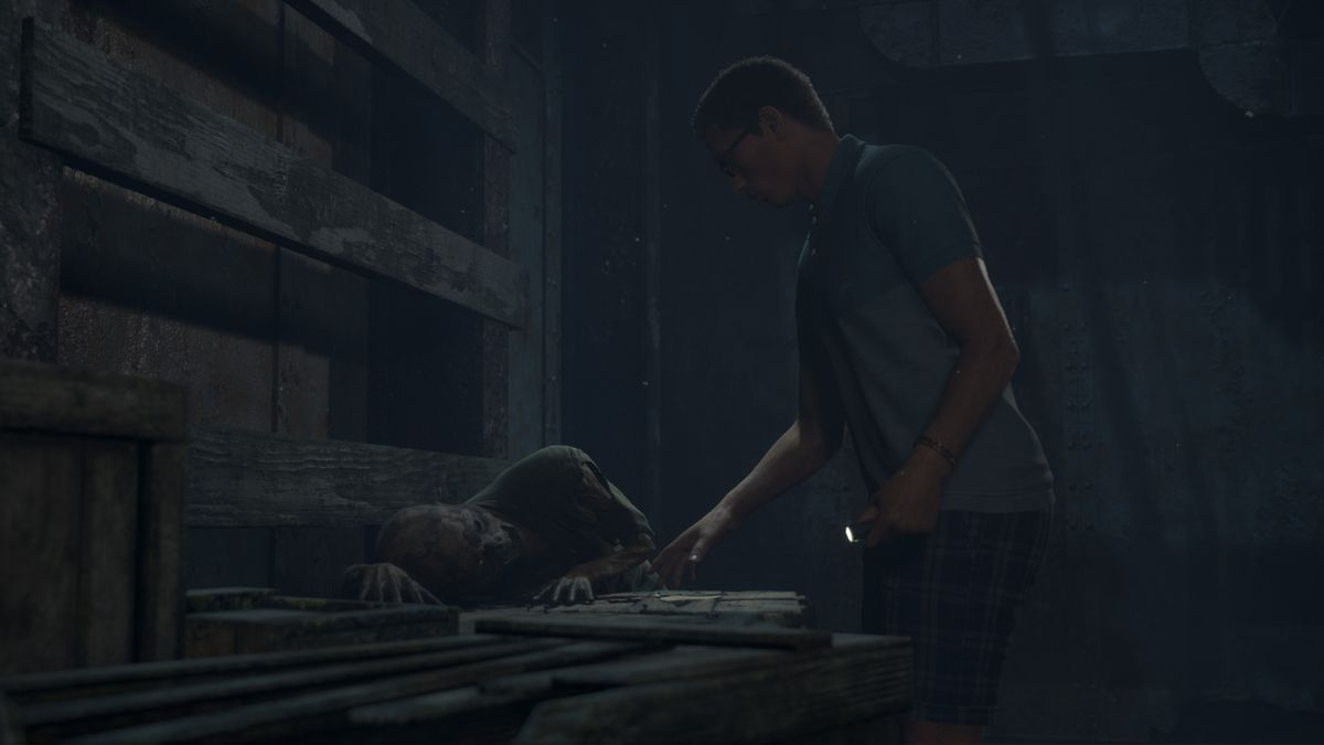 a character looks at a piece of paper on a crate. Beside him is a skeleton.