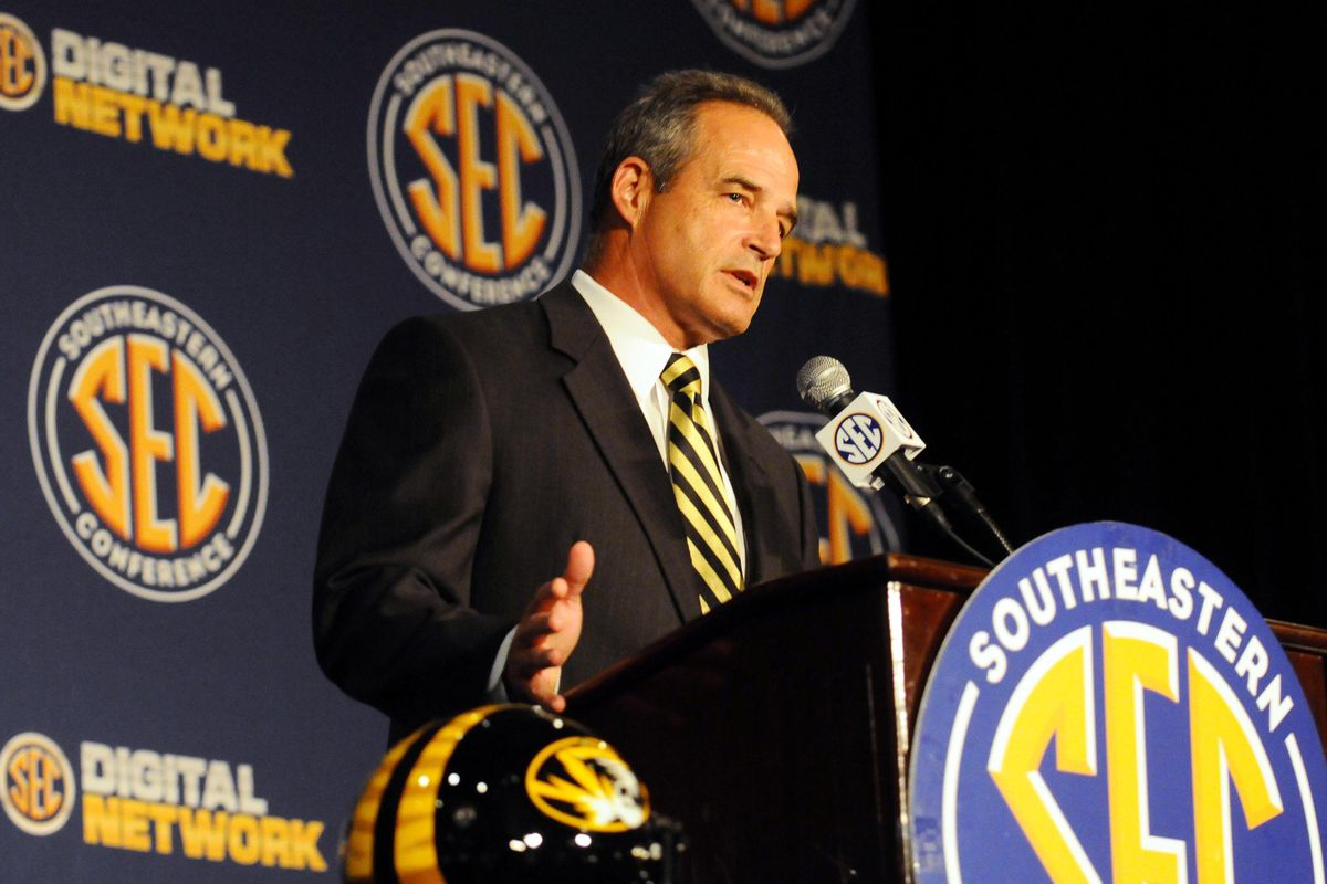 July 17, 2012; Hoover, AL, USA;  Missouri Tigers coach Gary Pinkel speaks during a press conference at the 2012 SEC media days event at the Wynfrey Hotel.   Mandatory Credit: Kelly Lambert-US PRESSWIRE
