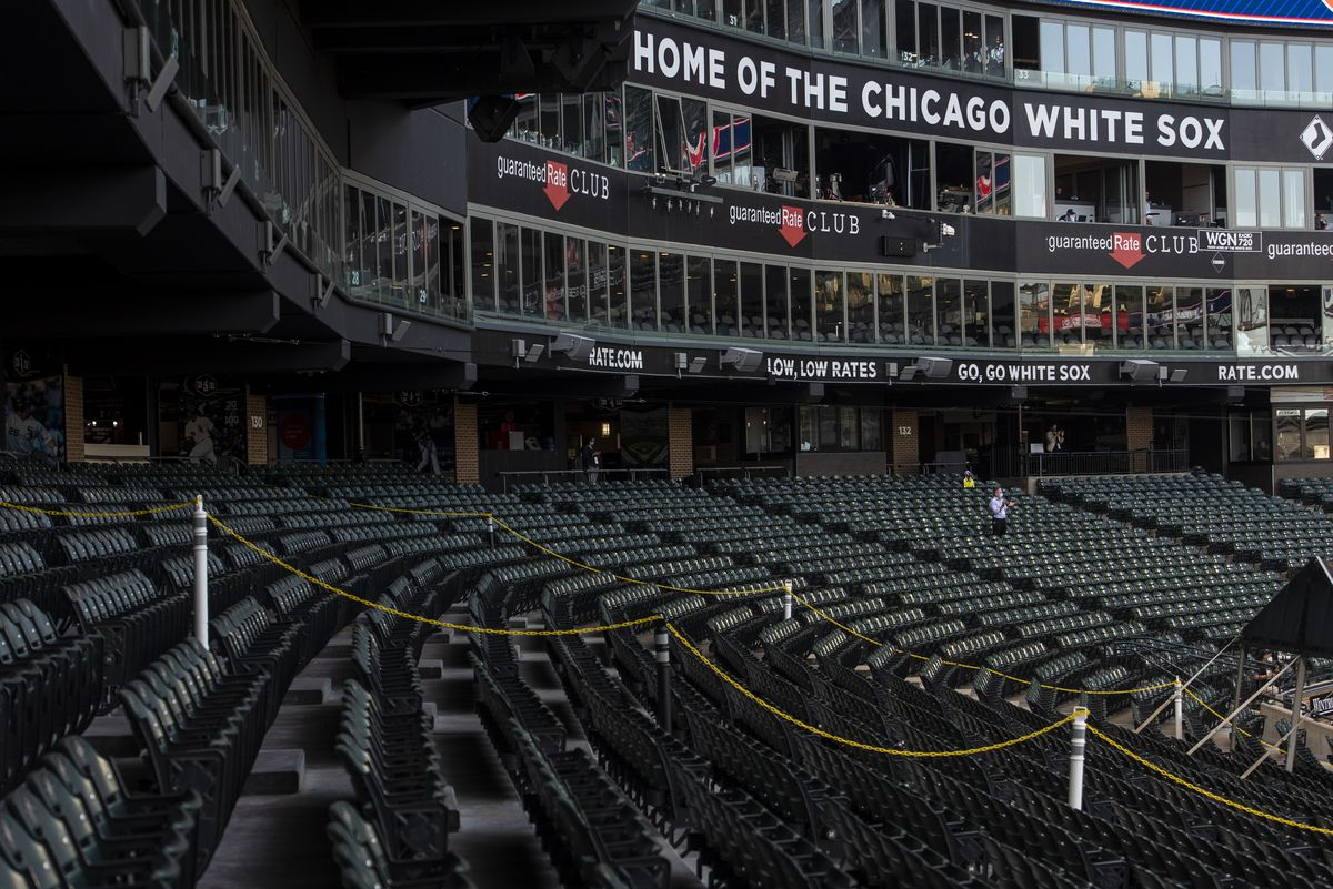 Guaranteed Rate Field sits empty during the Chicago White Sox opening day game against the Minnesota Twins, Friday evening, July 24, 2020.