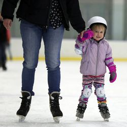 Ahni Kirton skates with her mother at Peaks Ice Arena in Provo on Wednesday, April 5, 2017.