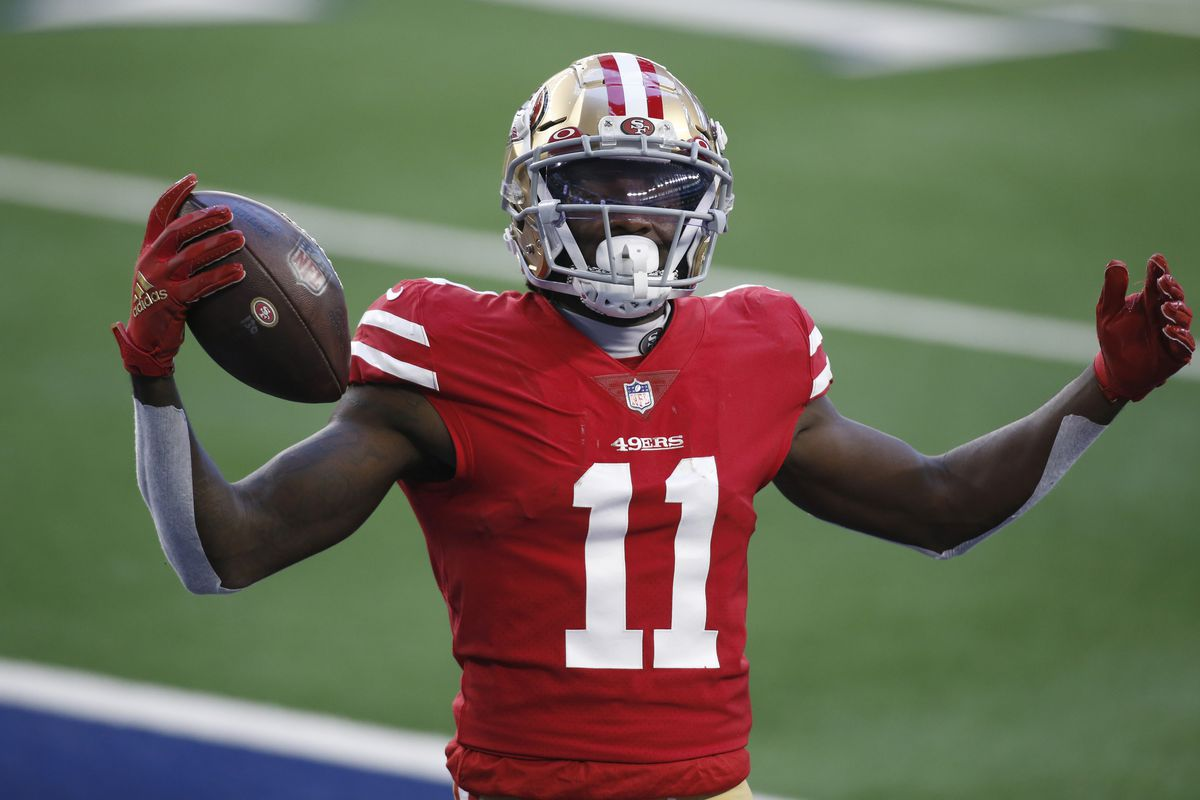 San Francisco 49ers wide receiver Brandon Aiyuk celebrates after scoring a touchdown against the Dallas Cowboys in the second quarter at ATT Stadium.
