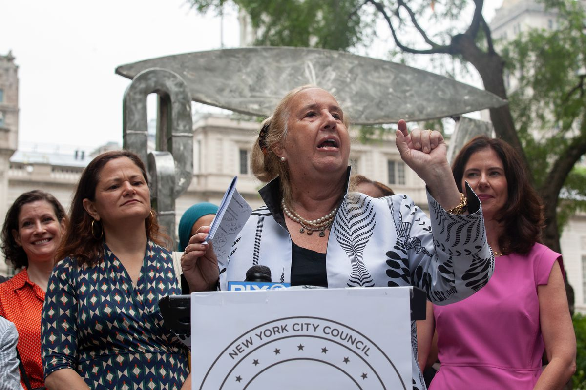 Manhattan Borough President Gale Brewer speaks at a rally in City Hall Park supporting female candidates, July 13, 2021.