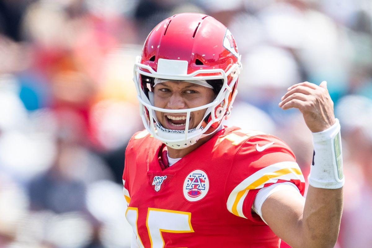 Patrick Mahomes #15 of the Kansas City Chiefs looks on during a game against the Jacksonville Jaguars at TIAA Bank Field on September 08, 2019 in Jacksonville, Florida.