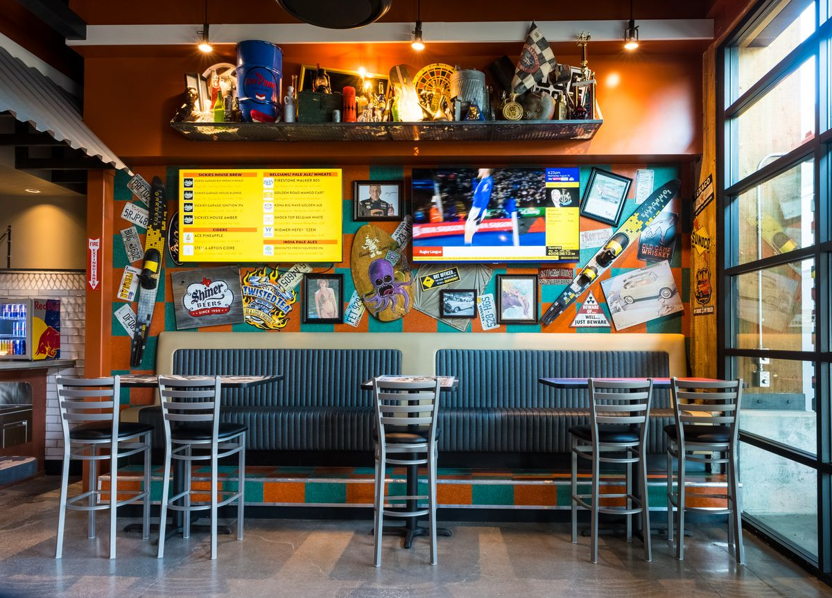 Colorful decor inside a restaurant