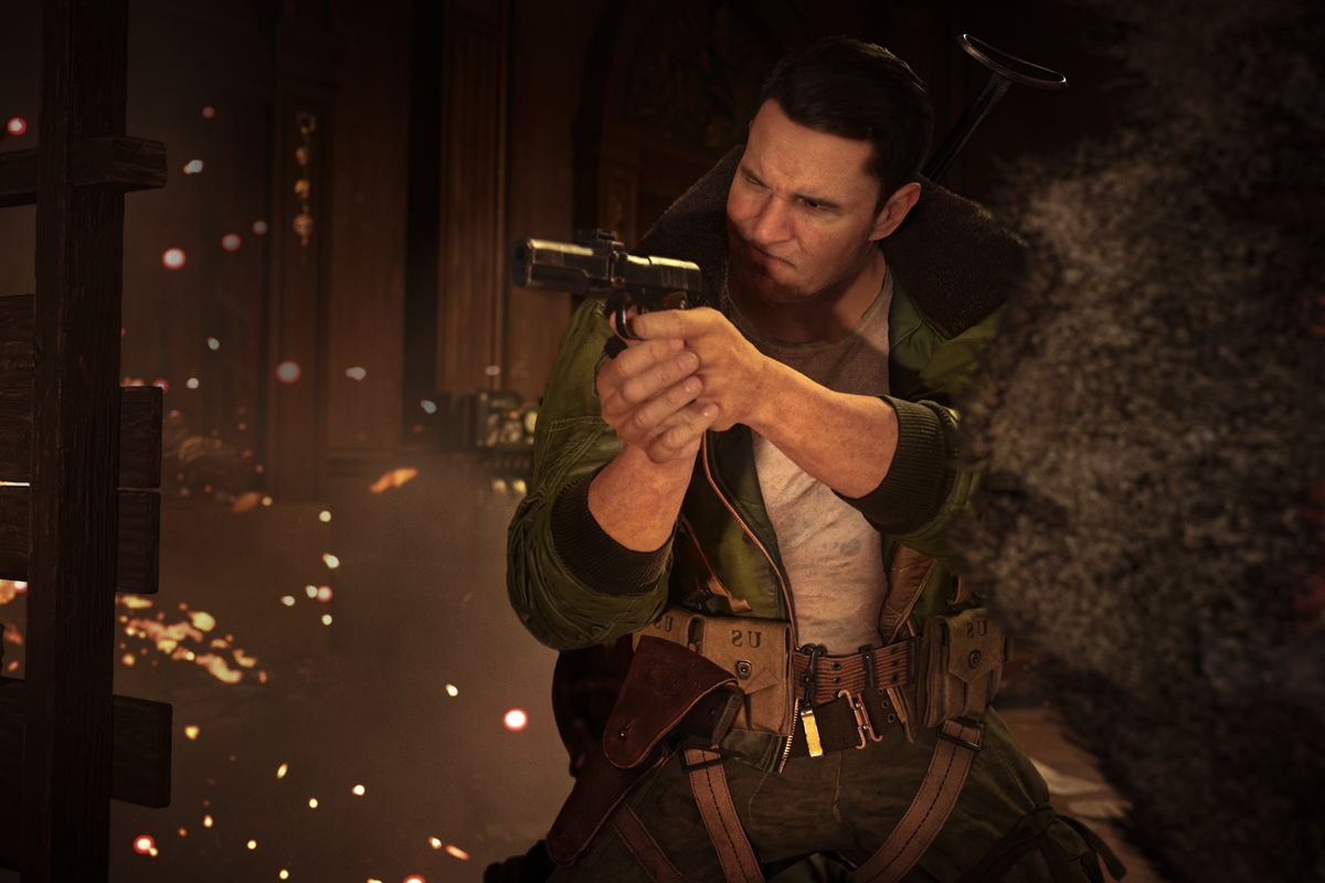 Operator Wade fires a pistol in Call of Duty: Vanguard multiplayer