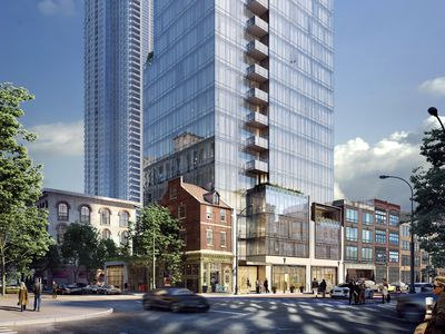 Toll Brothers' new design for the Jewelers Row tower ahead of an April 3 CDR meeting.