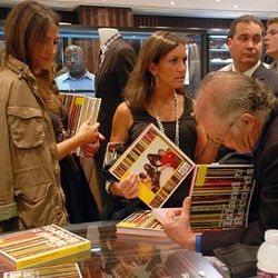 Island Records' founder Chris Blackwell signs his book in the mens store