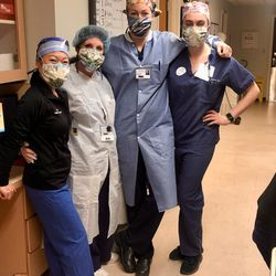 Utah nurse Brittany Critchfield, second from the right, with friends at Long Island Community Hospital in New York.