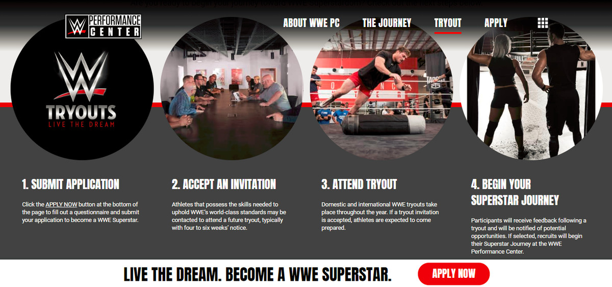 WWE launches Performance Center information and recruitment