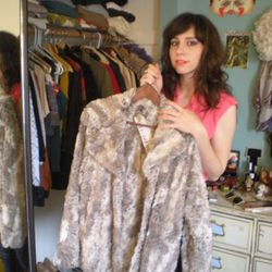 Not all of her wardrobe is vintage: a current piece from LA line The Battalion