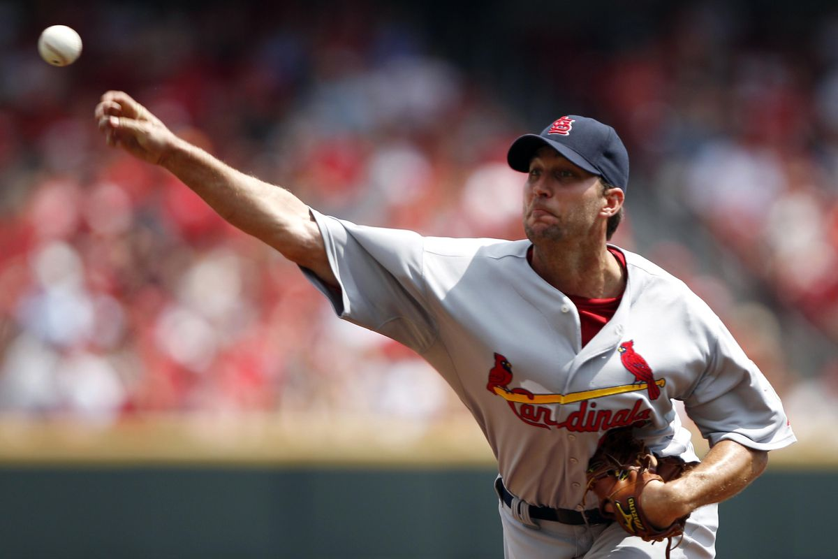 Aug 26, 2012; Cincinnati, OH, USA; St. Louis Cardinals starting pitcher Adam Wainwright (50) pitches during the first inning against the Cincinnati Reds at Great American Ball Park. Mandatory Credit: Frank Victores-US PRESSWIRE
