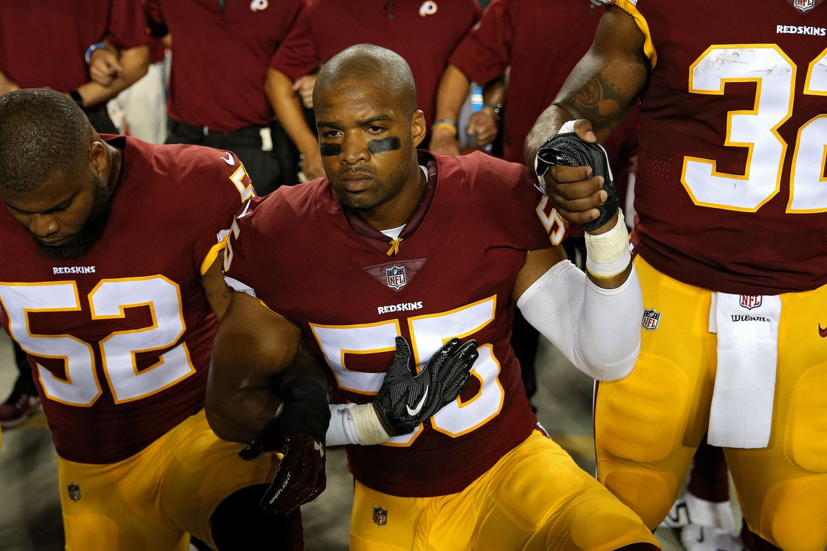 Chris Carter of the Washington Redskins kneels during the national anthem  this weekend. Photo by Patrick Smith Getty Images 257190cf1e0