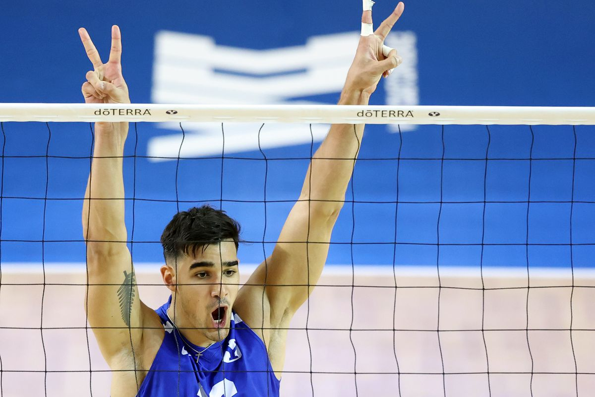 BYU's Felipe de Brito Ferreira, celebrates after a point as BYU and Pepperdine play in the finals of the Mountain Pacific Sports Federation Championship, at the Smith Field House in Provo on Saturday, April 24, 2021. BYU won in straight sets.