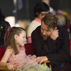 Emily is shown with the commercial's director, Andreas Nilsson, on set.