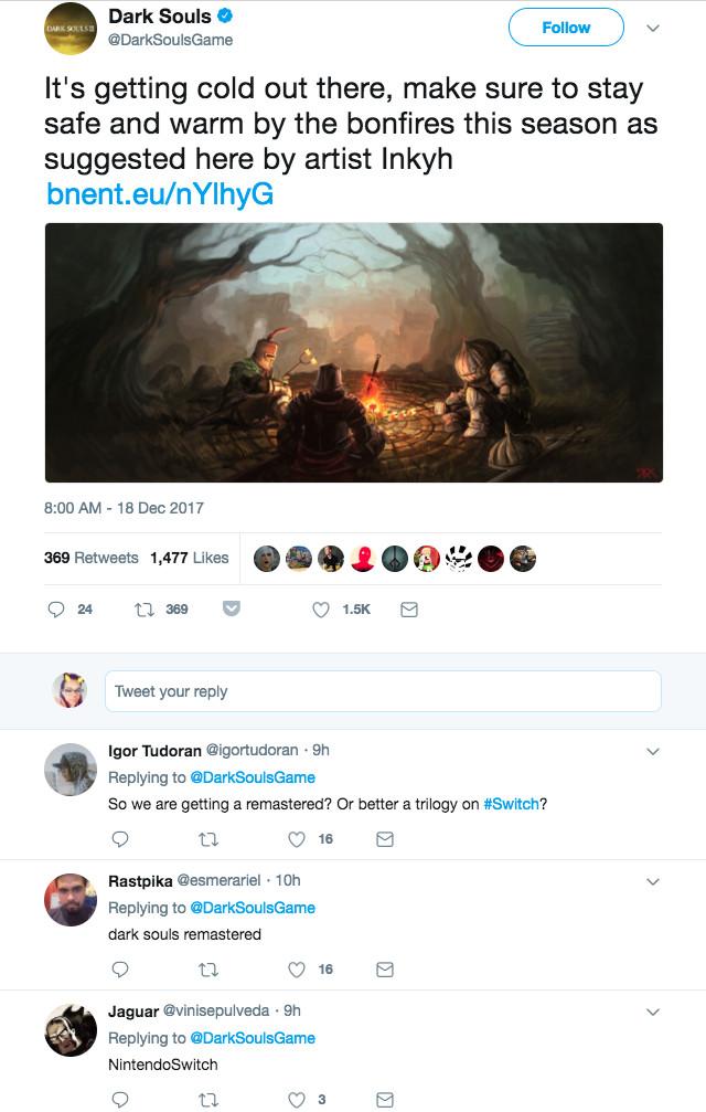 The top replies on Dark Souls' Twitter account.