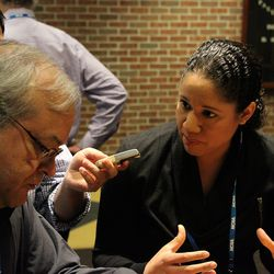 ESPN's Kara Lawson answers a question from Roger Cleaveland from Republican-American.