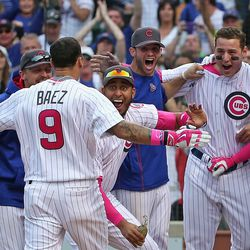 May 9: Cubs celebrate Javier Baez's walkoff homer vs. the Nationals