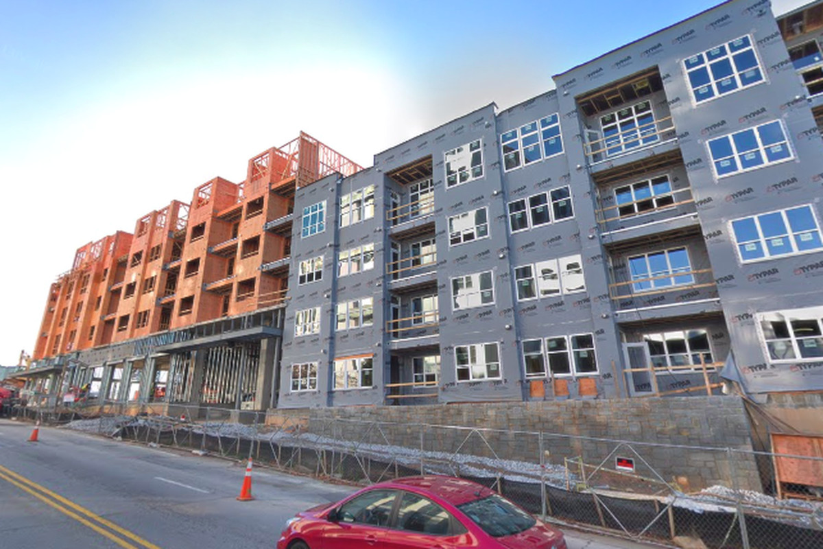 A photo of the Trinity development underway in downtown Decatur.