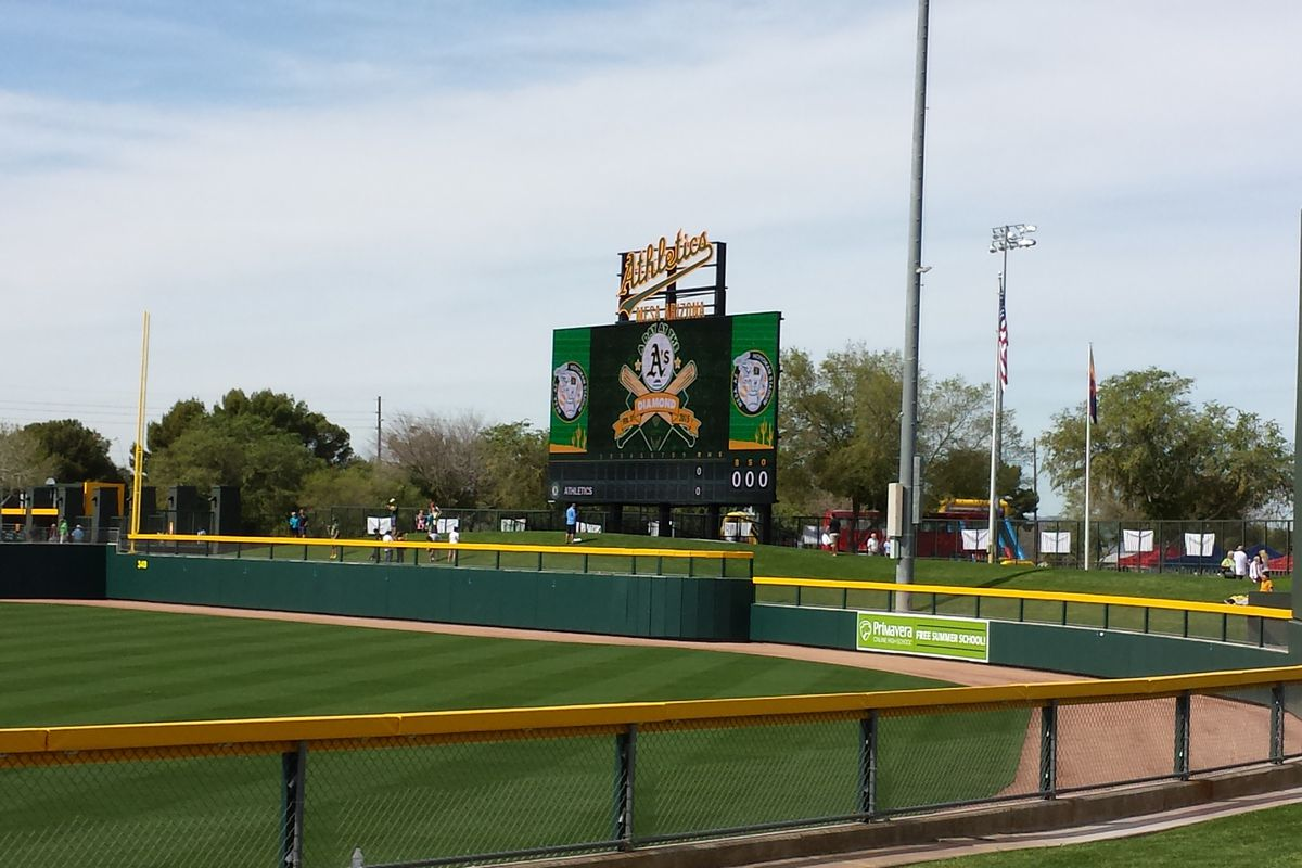 HoHoKam Park's new video board as it appeared during an open house February 21, 2015