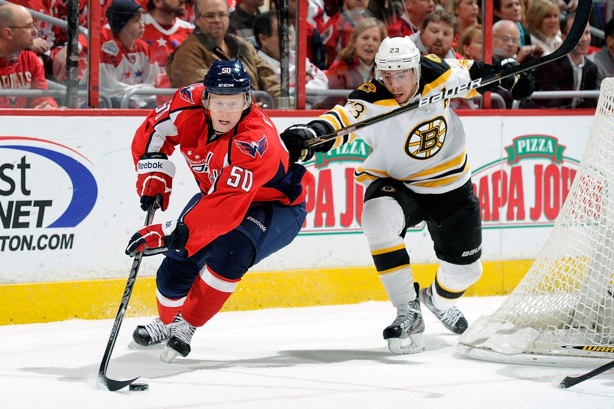 WASHINGTON, DC - JANUARY 24:  Cody Eakin #50 of the Washington Capitals  brings the puck around the net against Chris Kelly #23 of the Boston Bruins at the Verizon Center on January 24, 2012 in Washington, DC.  (Photo by Greg Fiume/Getty Images)