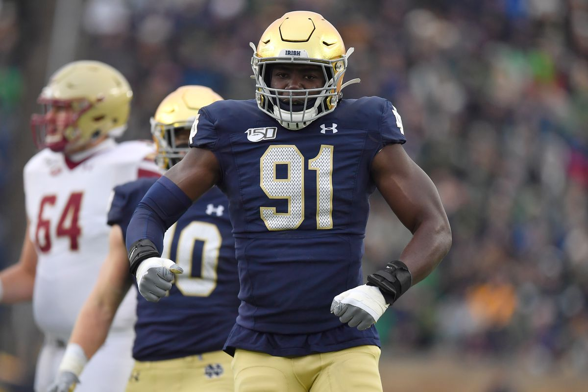 This Guy Plays Notre Dame Football: #91 Ade Ogundeji Defensive End - One  Foot Down