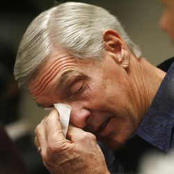 Utah Jazz coach Jerry Sloan wipes away a tear as his announces his resignation after being the head coach for the Jazz since 1988  Thursday, Feb. 10, 2011, in Salt Lake City, Utah.