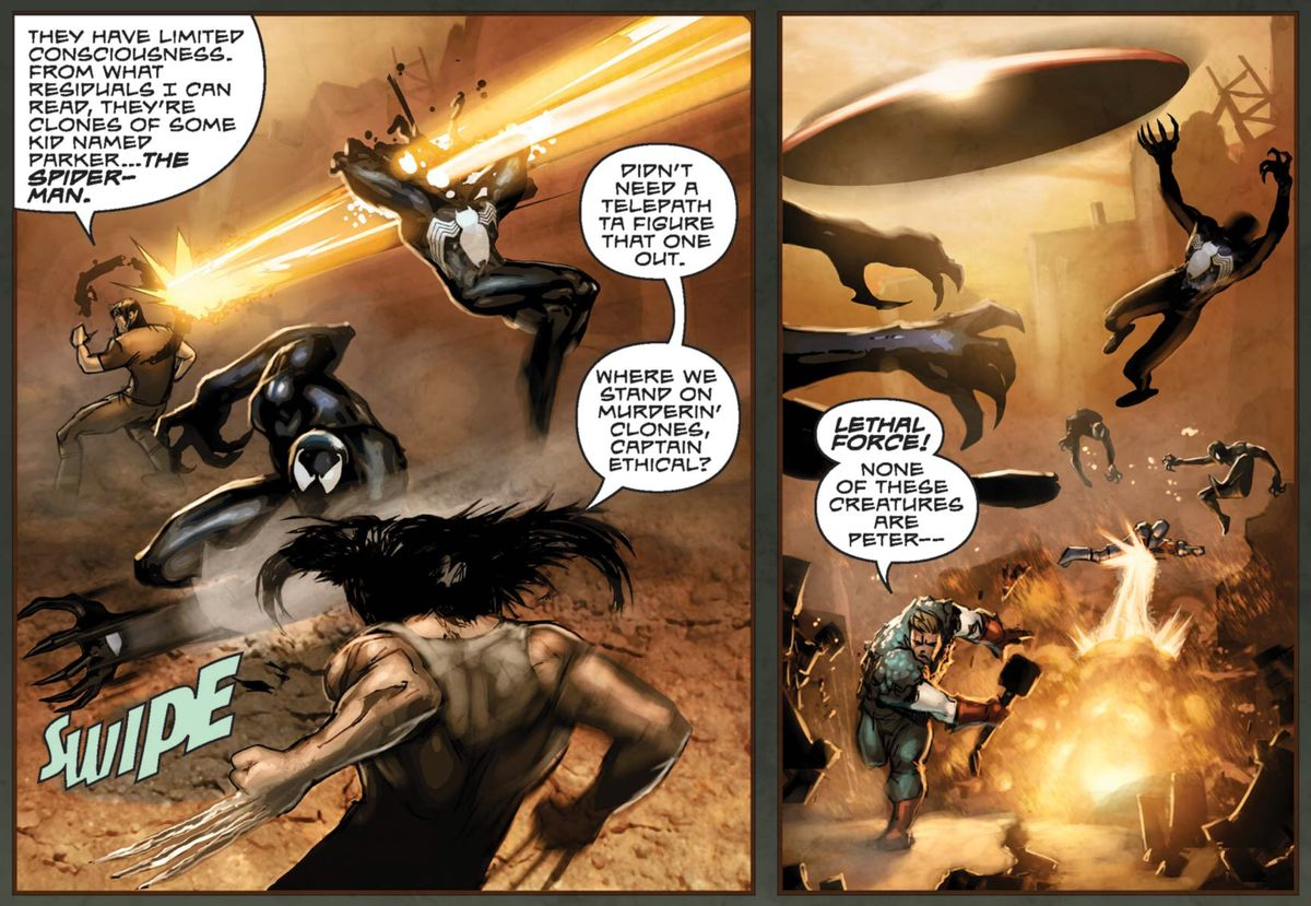 Wolverine and Captain America battle an army of Peter Parker/Venom clones in What If... Age of Apocalypse, Marvel Comics (2006).