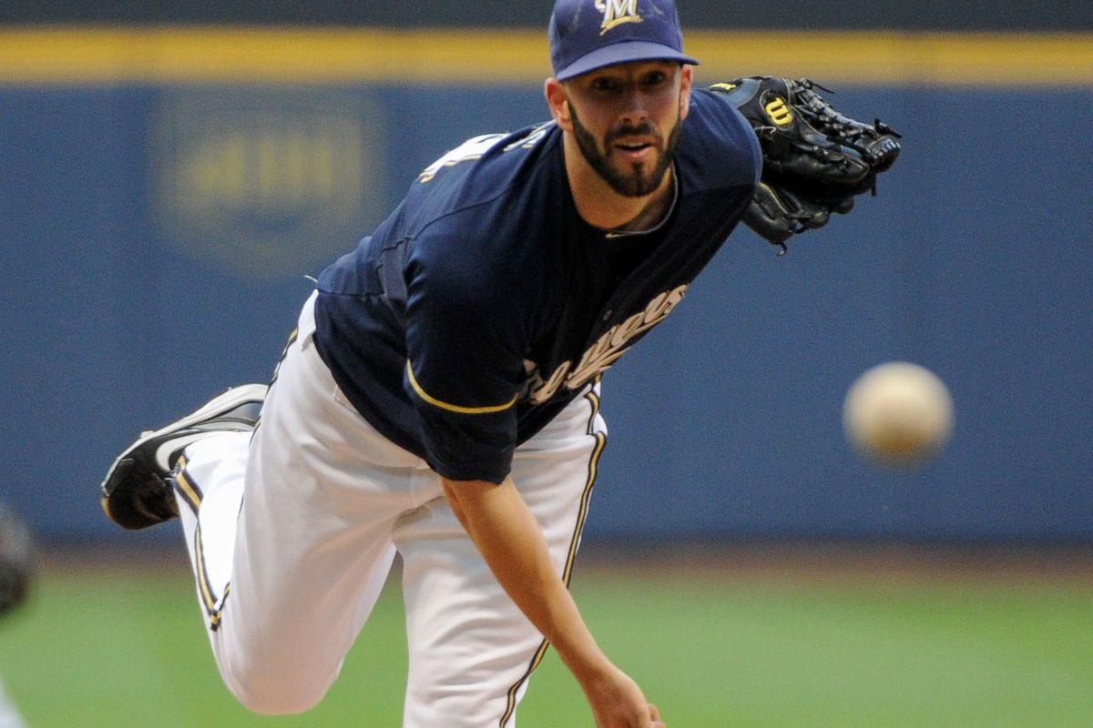Aug 7, 2012; Milwaukee, WI, USA;    Milwaukee Brewers pitcher Mike Fiers (64) pitches against the Cincinnati Reds in the first inning at Miller Park.  Mandatory Credit: Benny Sieu-US PRESSWIRE