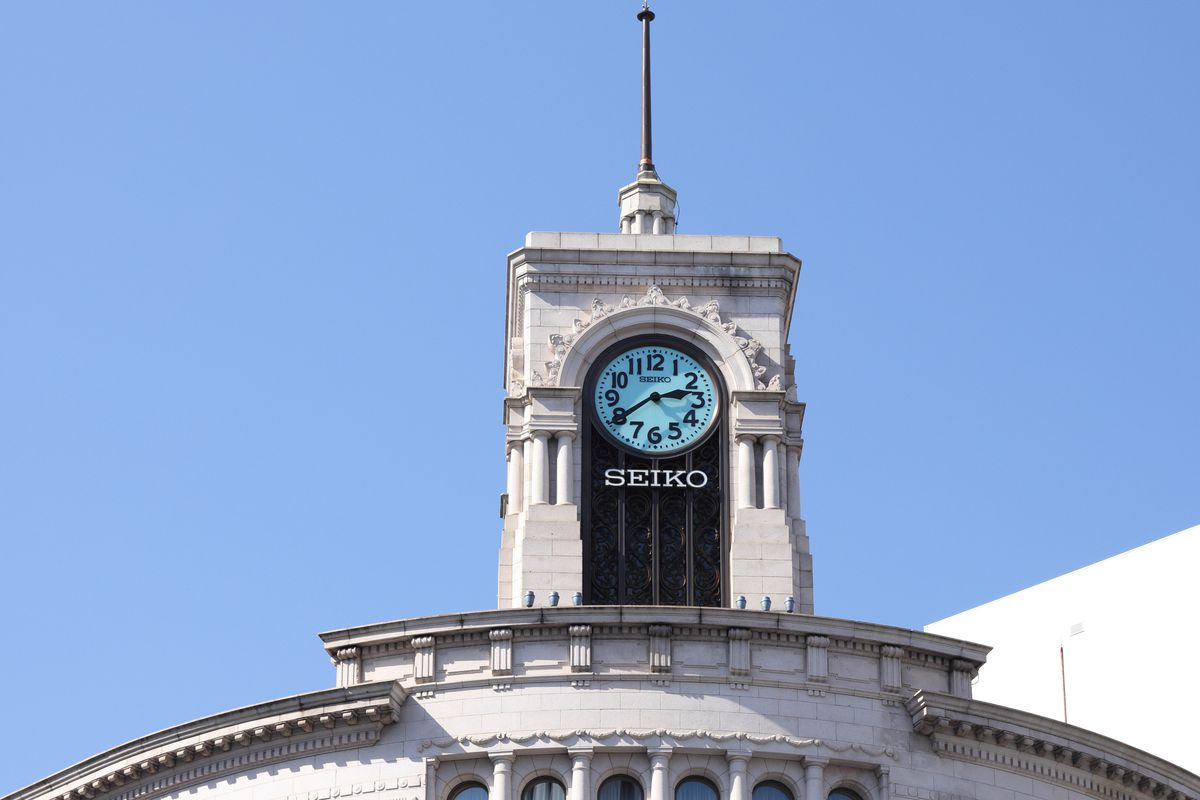 A view of a clock of the famous landmark 'Wako Building' in Ginza district.